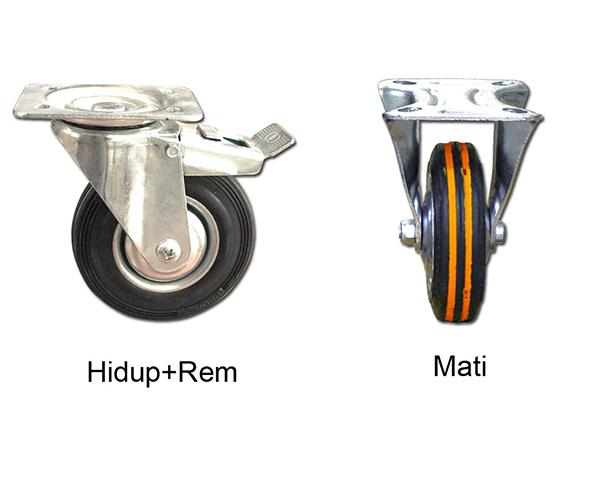 Roda Karet TG Hidup Rem/Mati